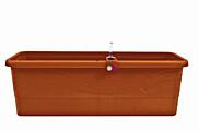 Self-irrigation window box Smart System Gardenie (with décor) 40 cm terracotta